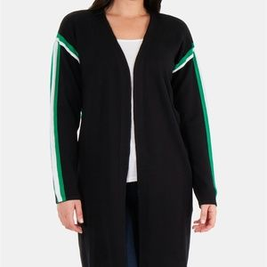Racer-Stripe Open-Front Cardigan NWT $78 XL